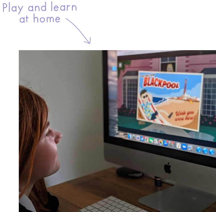 A child playing the Melva game on a computer