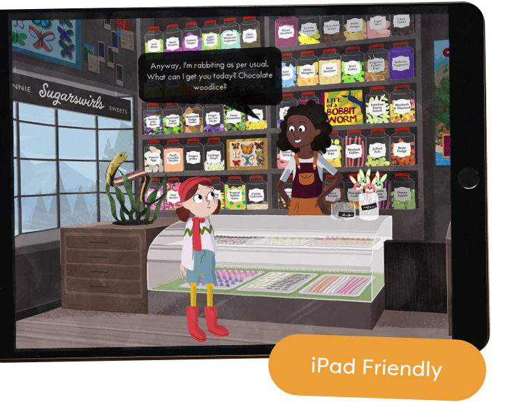 """The Melva Game shown on an iPad with the tag """"iPad friendly"""""""