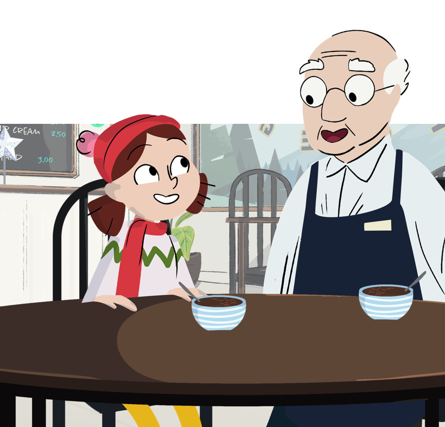 A game still showing Melva and her Grandpa in a cafe